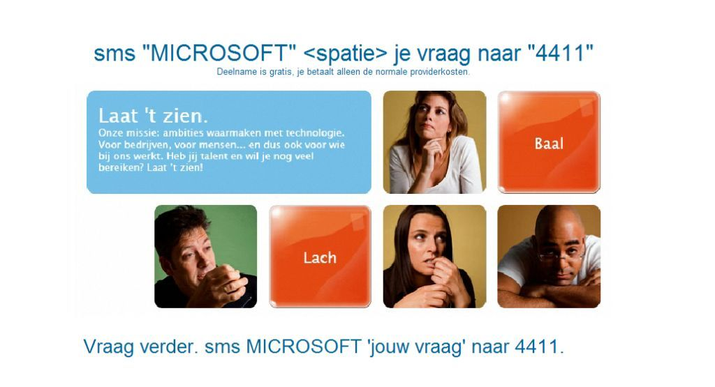 Microsoft SMS to Screen voorbeeld