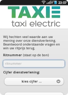 TAXI-E Mobiele Website